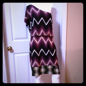 Maggy London NWT one shoulder aztec dress